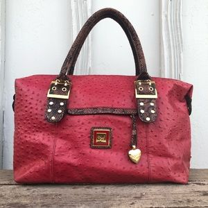 Sharif Leather Red Ostrich With Snakeskin Bag